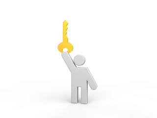 3d man holding a golden key