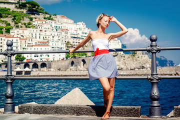 Beautiful young woman posing in Atrani town