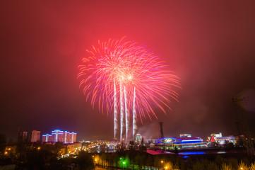 праздничный салют в городе Екатеринбурге, Россия