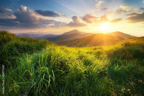 Mountain valley during sunset. Natural summer landscape