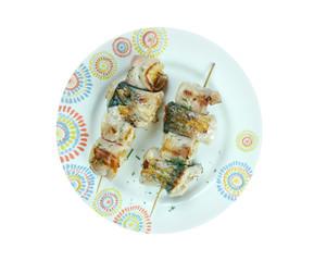 kebabs mackerel, banana and bacon