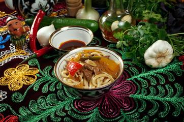 oriental uzbek soup lagman  - Uzbek cuisine