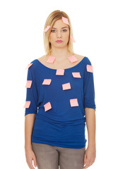 Woman with sticky notes.