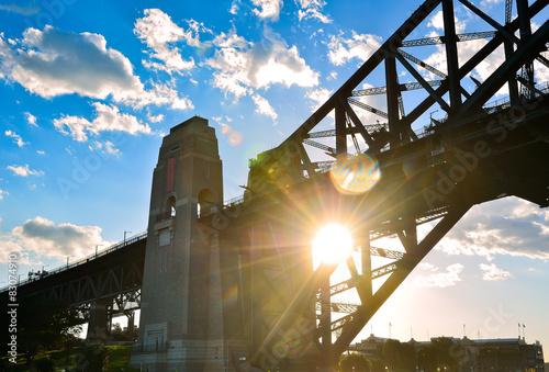 Poster Oceanië Sydney Harbor Bridge at sunset