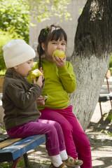Дети на лавочке во дворе кушают яблоки
