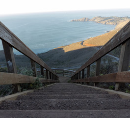 Steep staircase view of Pacific Ocean