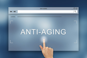 hand press on anti aging button on website