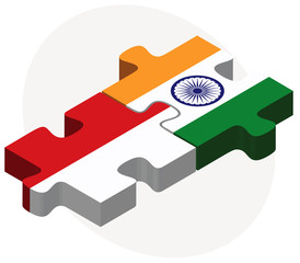 Indonesia and India Flags in puzzle