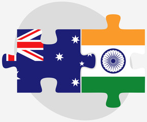 Australia and India Flags in puzzle