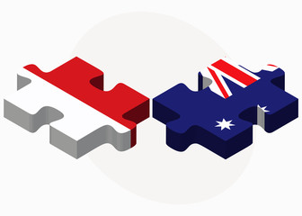 Indonesia and Australia Flags in puzzle