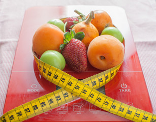 Fruits, scale and meter