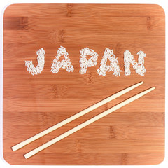 japan rice written on bamboo with chopsticks