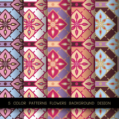 5 color patterns flowers background design  in grid