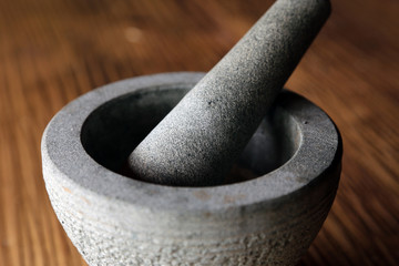 Mortar and Pestle on Table