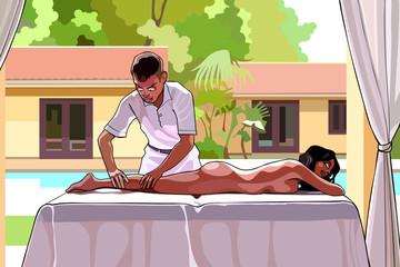 cartoon man makes a woman a massage