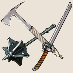 weapon against the zombies, ax, sword, mace