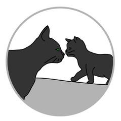Кошка и котенок силуэты