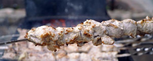Delicious meat kebabs on skewers