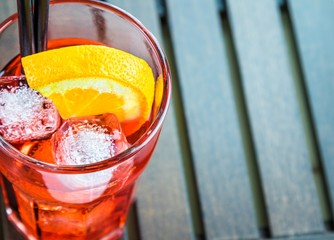 top of view of spritz aperitif cocktail with orange and ice