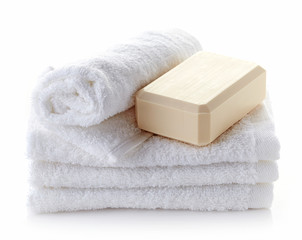 stack of white spa towels