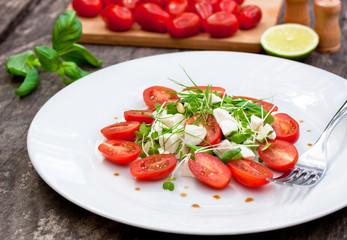 vegetarian tomato salad with Mozzarella