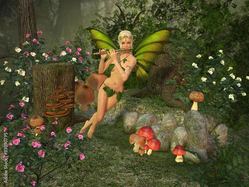 Deurstickers Retro Elven beautiful woman with flute