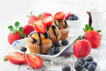 Sweet muffins with berries