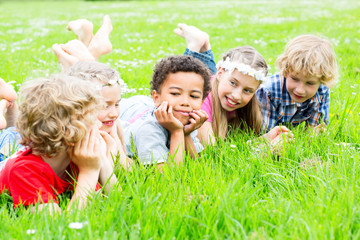 summer kids in green gras land