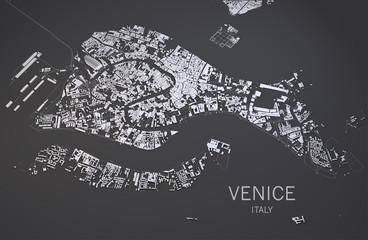 Cartina di Venezia, Italia, vista satellitare, mappa 3d