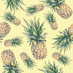 Pineapple on a yellow background. Seamless pattern