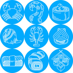 Seafood round blue icons