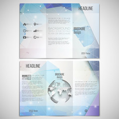 Vector set of tri-fold brochure design template on both sides