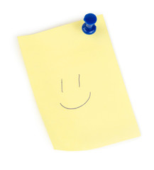 Yellow note paper with push and smile