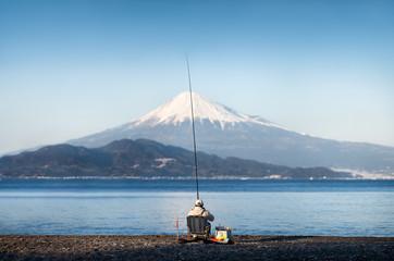 Angler am Berg Fuji in Japan