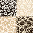 Set of four seamless beige and brown floral patterns. Vector.