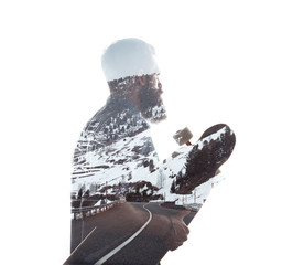 Double exposure portrait of a bearded guy and road