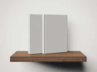 Two white book on a brown shelf. 3d rendering