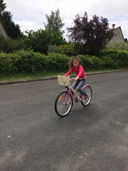 young girl with her bike
