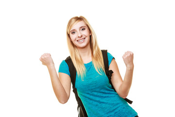 School girl celebrating success