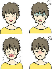 女性の表情/喜怒哀驚(ショートカット)