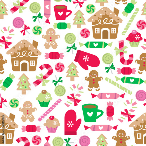 Cotton fabric Christmas Sugar And Spice Seamless Pattern Background