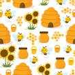 Obrazy na płótnie, fototapety, zdjęcia, fotoobrazy drukowane : Happy Honey Bee Seamless Pattern Background