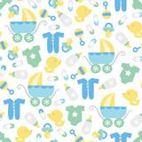 Fototapety Retro Baby Boy Seamless Pattern Background