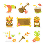 Fototapety Luau Tiki Party Icons