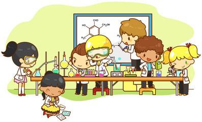 Children are studying and working in the laboratory, create by v