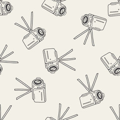 Doodle Video recorder seamless pattern background