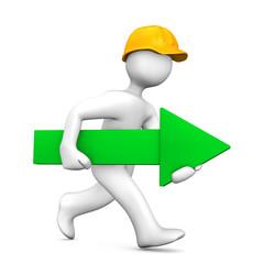 Bauarbeiter rennend mit einem grünen Pfeil
