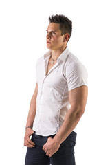 Handsome young man with elegant shirt, looking to a side