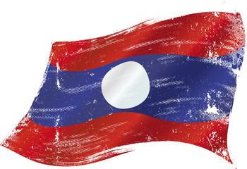 Laotian grunge flag