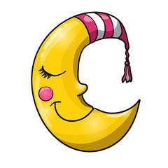 Cartoon sleeping moon in striped nightcap